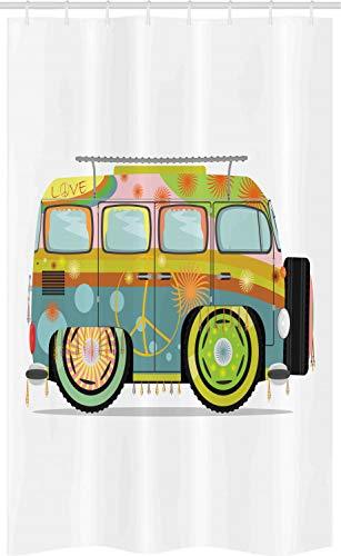 ABAKUHAUS Urban Graffiti Douchegordijn, hippie Camper, voor Douchecabine Stoffen Badkamer Decoratie Set met Ophangringen, 120 x 180 cm, Veelkleurig