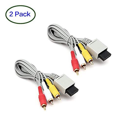 ANYQOO 6 Feet 2 Pack AV Cable Wii Wii U AV Cable Composite Retro Audio Video Standard Cord for Nintendo Wii Wii U