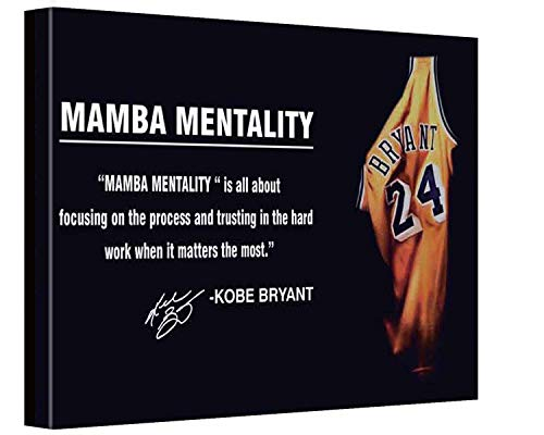 Canvas Bubble Kobe Bryant Mamba Mentality Motivation Quote Sepia Effect Canvas Wall Art Basketball Canvas Frame for home decor ready to hang 12'x8'