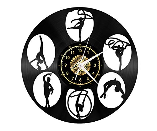 Reloj de pared de vinilo para yoga con diseño de poste de baile, hecho a mano, reloj de pared negro, regalo único para hombres y mujeres para decoración de pared de cumpleaños