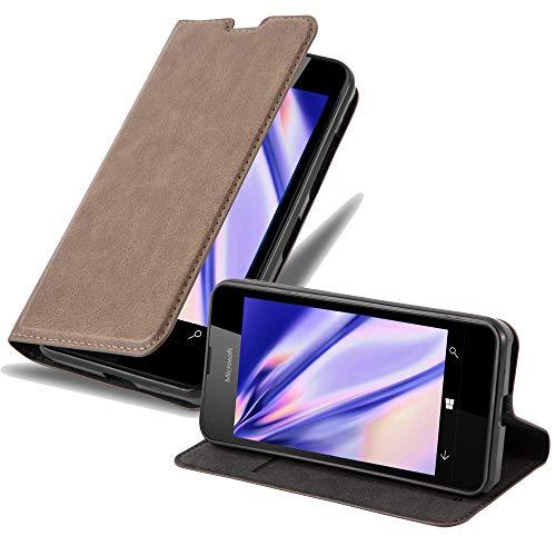 Cadorabo Hülle für Nokia Lumia 550 in Kaffee BRAUN - Handyhülle mit Magnetverschluss, Standfunktion & Kartenfach - Hülle Cover Schutzhülle Etui Tasche Book Klapp Style