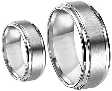 Men & Women's 8MM/6MM Brushed Center Shiny Edge Cobalt Chrome Wedding Band Ring Set (Available Sizes 6-12 Including Half Sizes)