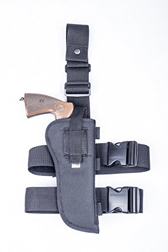 "OutBags USA (NTAC10-BK-RH) - Nylon Drop Leg Thigh Holster with Bullet Shell Loops. Fits Most 6"" Revolvers. Made in USA"