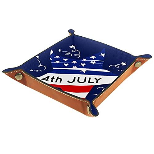 Bandeja de Valet de Cuero, Soporte Cuadrado Plegable para Bandeja de Dados, Placa organizadora de tocador para Cambiar la Llave de la Moneda Estrella del 4 de Julio día de la Independencia