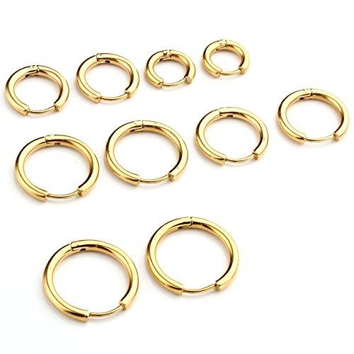 JSDDE Piercing 10 Stücke Set Chirurgenstahl Creolen Ohrringe Hoop Ring Septum Tragus Helix Ohrpiercing Huggie Kreolen Ohrringe Fake Klemmring Nasenring 8-16mm (Gold)