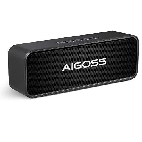 Aigoss Altavoz Bluetooth Portátil Sonido Estéreo Efecto de Doble Bajo, Speaker Bluetooth 5.0 Manos Libres y FM, Negro
