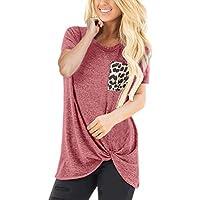 Camisa Mujer Casual Leopardo Patchwork Bloque de Color Cuello en V Asimétrico Manga Larga T-Shirt Camiseta Blusa Basic Tops Camisetas Pullover Túnica