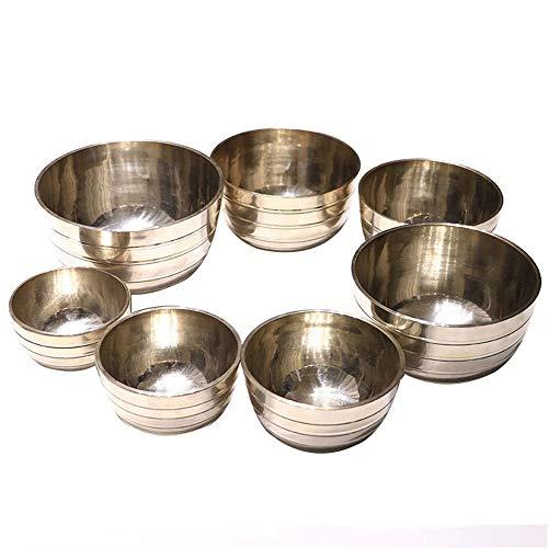 YLiansong-home Fait à la Main tibétaine de Bell Métal Singing Bowl 7 Ensembles de Bol de Chant tibétain Sets Tapis et Cadeaux Parfaits for la méditation Décompression Bol Chantant tibétain