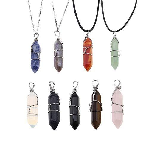 YINETTECH 9X Sechseckigen Stein Quartz Kristall Förmigen Anhänger Halsketten mit Ketten Set Schmuck Machen Charms Armband
