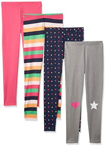 Spotted Zebra Girls' Kids Leggings, 4-Pack Heart/Star, Small