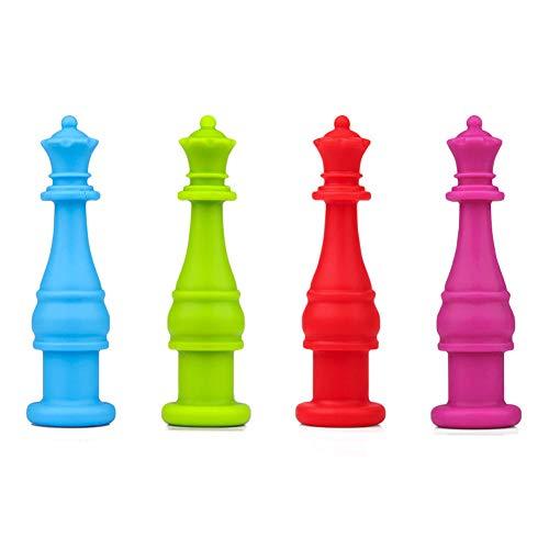 Enfant Embouts de Crayon, Yuccer Sécurité Enfant 4 Pièces Silicone Jouets Mâcher Jouet Anti Stress Pencil Toppers (Bleu+Vert+Rouge+Rose)