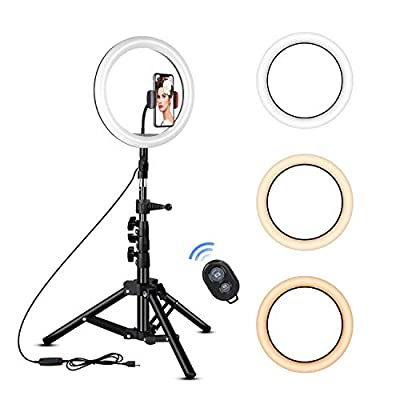 Rovtop 10 inch Ring Light with Stand Tripod, LED, Phone Holder for Selfie Camera Photography Makeup Video Live Streaming from Rovtop