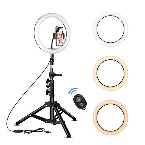 Rovtop 10 inch Ring Light with Stand Tripod, LED, Phone Holder for Selfie Camera Photography Makeup...