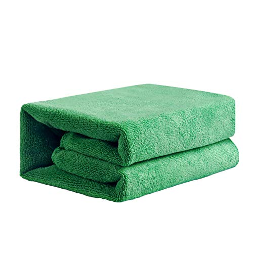 kaaka 1Pc Large Size Super Soft Water Absorption High Friction Microfiber Towel with Fluff Car Washing Window Cleaning Polishing Cloth Household Daily Necessities Multipurpose Towel Green