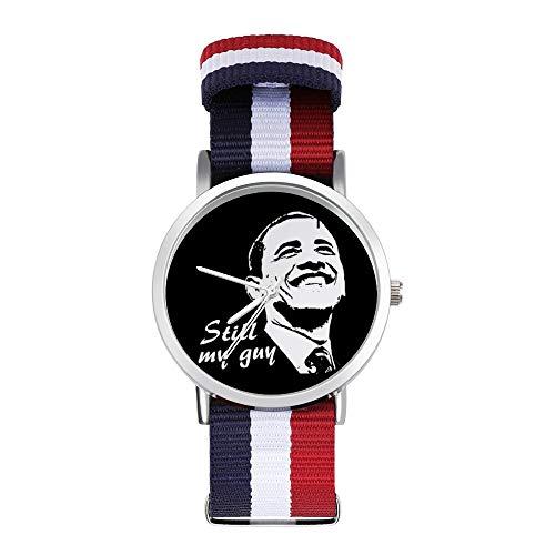 Barack Obama Still My Guy Freizeit-Armbanduhr, geflochtene Uhr mit Skala