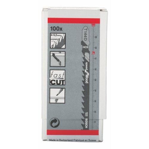 Bosch Professional Stichsägeblatt (100 Stück, für Weichholz und Platten bis zu 50 mm, Zubehör für Stichsäge)