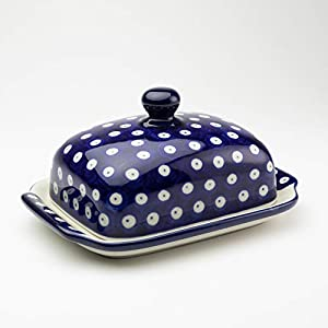 Polish Pottery Butter Dish Blue Eyes