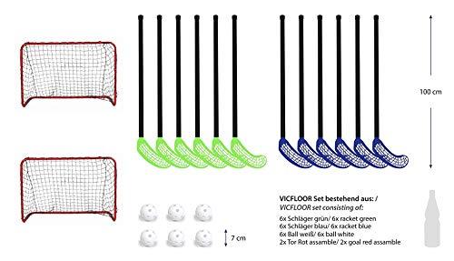 VICFLOOR Hockey Sets 85 (12 Schläger + 6 Bälle + 2 Tore)