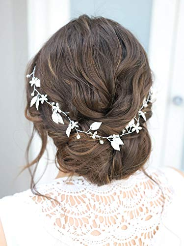 Yean Bride Wedding Hair Vine Headband Gold Leaf Bridal Accessories for Women (Gold) (Silver)