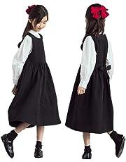 子供 ジャンパースカート 白シャツ 長袖 立ち襟 背中ボタン 卒業式 入学式 法事葬式 お受験面接 普段着 スクールスカート フレア 重ね着風 フォーマル リボン