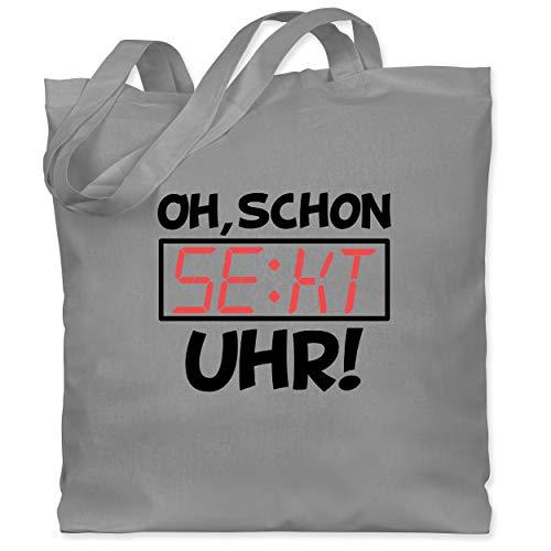 Shirtracer Sprüche - Oh schon Sekt Uhr - schwarz - Unisize - Hellgrau - Geschenk - WM101 - Stoffbeutel aus Baumwolle Jutebeutel lange Henkel
