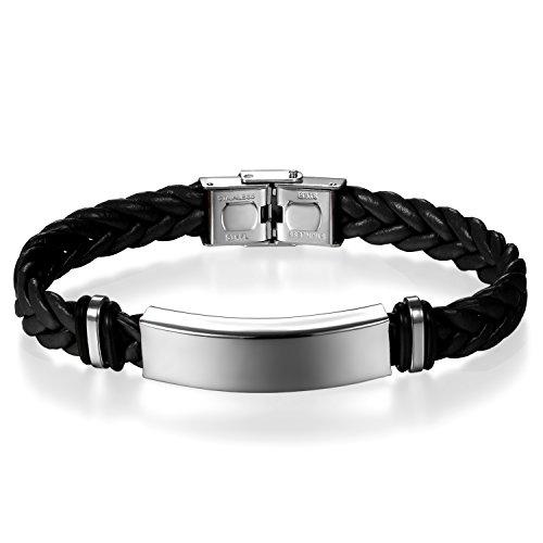 JewelryWe Schmuck Herren Damen Geflochten Leder Armband Armreif mit Edelstahl-Schild Lederarmband schwarz Gravur