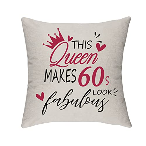 Morges Esta reina hace un aspecto fabuloso de los años 60, regalo de cumpleaños para mujeres de 60 a 69 años, decoración del sofá, cama, funda de cojín, regalo para mamá, esposa, dama