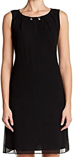 S.L. Fashions Women's Sleeveless Pleated Neckline and Necklace A-line Shift Dress