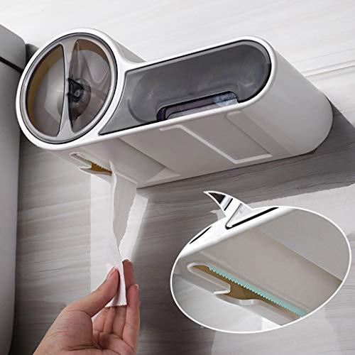 Toilettenpapierhalter mit Feuchttücherbox, Duo-Papierhalter, Badezimmer WC Badaccessoires Klopapier, Wandmontage Papierhalter Ohne Bohren Rollenpapierspender mit Schublade und Ablage