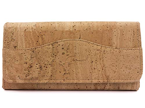 SIMARU Große Damen Geldbörse aus Kork, Einer veganen und nachhaltigen Leder Alternative – Kork Portemonnaie, Geldbeutel mit Vielen Fächer in fünf verscheiden Farben (Natur)
