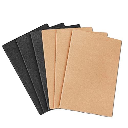 6 sztuk notatników A5, notatnik A5, klasyczny notatnik, notatnik szkolny, nadaje się do podróży, biura, studia, jako prezent (brązowy i czarny)
