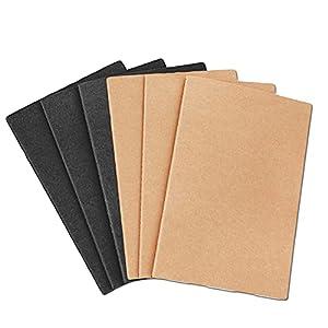 6 Piezas de Bloc de Notas A5, Bloc de notas pequeño A5, Cuaderno de Estudiante, Para Escritura Diaria, Viajes, Oficina, Estudio, Donación (Marrón y Negro)