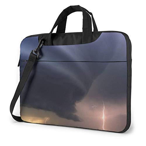 Laptop Shoulder Bag Carrying Laptop Case 13 Inch, Tornado Picture Computer Sleeve Cover with Handle, Business Briefcase Protective Bag for Ultrabook, MacBook, Asus, Samsung, Sony, Notebook