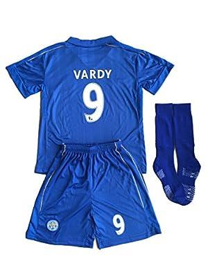 2015/16 Leicester City Home Kids Vardy # 9 Youths Children Football Soccer Jersey & Short & Socks