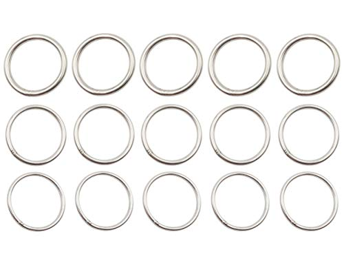 LBY Welded O Ring Stainless Steel O Ring 3 Kinds Combination Pack of 15