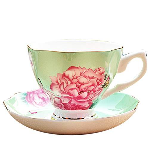 CUHAWUDBA 180Ml, Feiner Knochen China Kaffee Tasse mit Untertasse und L?ffel, Lustiges Mode Design, Zakka Tazas Cafe Espresso Tasse, Europ?ische Kaffee Tasse