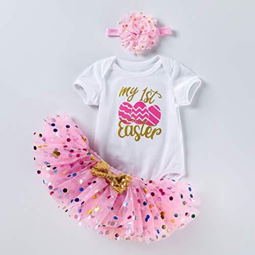 Pxyaz Recién Nacido Bebé Muchachas Es mi Atuendo 1er / 2do cumpleaños Vestido Princesa Tutu Juego 3 Piezas Romper+Falda+Venda Cumpleaños Princesa Partido Apoyos de la Foto,Rosado,3~6 Months