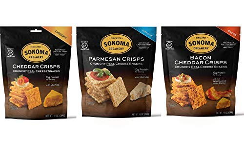 Sonoma Creamery Cheese Crisps, Variety Pack, 10 Ounce Bag (Pack of 3)