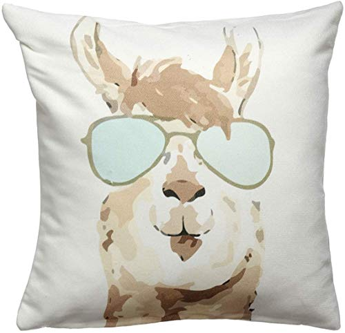 Fab Habitat Decorative Large Throw Pillow, 20' x 20' I Soft Textile Feel I Made from Recycled Plastic Bottles I Use Inside or Outdoors I Cushion and Cover I Watercolor Llama, Multi-Color