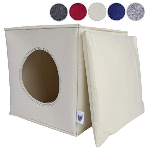 VIIRKUJA Filz Katzenhöhle inkl. Kissen | Passend für z.B. IKEA Expedit & Kallax Regal | Extra Flauschiges Kissen | Besonders stabil und warm | Besch