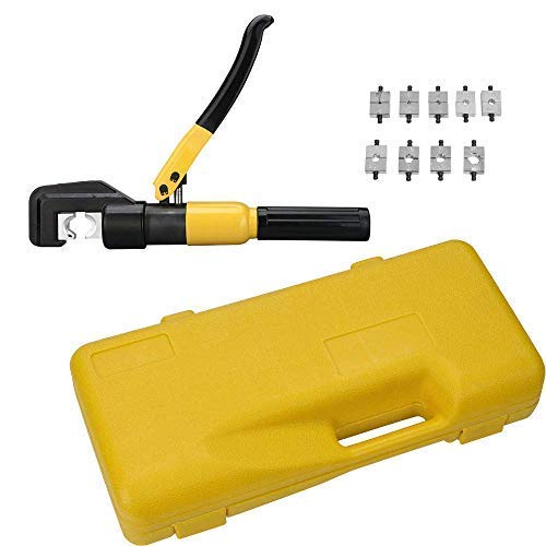 10 Ton Hydraulic Wire Battery Cable Lug Terminal Crimper Crimping Tool Total 9 Dies for Crimping wires and butt connectors
