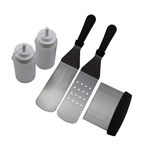 Decdeal Griddle Accessories Kit, Griddle Spatula Set Flat Top Griddle Tools Set, Great for Outdoor BBQ, Teppanyaki and Camping