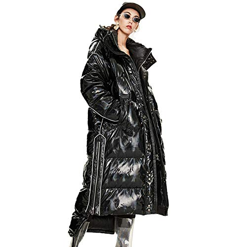 Biddtle Damen Mantel Winterjacke Daunenmantel Laser Glänzend Lose Eingedickt Steppjacke Mit Kapuze Multi-Reißverschluss Warm Daunenjacke,Schwarz,L