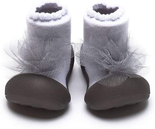 [Attipas]AK04.パールグレー[コサージュ2[アティパス]ベビーシューズL(12.5cm)/かわいいベビーシューズ滑り止め公園遊び出産祝いプレゼントあんよの練習保育園靴ソックスシューズプレシューズ室内履き女の子