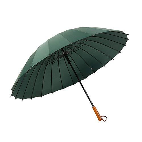 SCKL Stockschirme Mit 24 Fiberglas Rippen Wind- Und Wasserdichter Kompaktschirm Holzgriff Lange Gerade Golf Regenschirm 113Cm Groß Regenschirm,Grün
