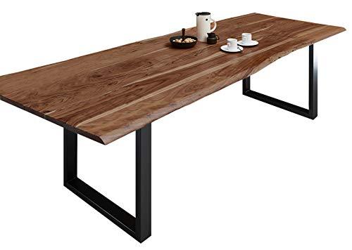 SAM Esszimmertisch 280x100 cm Milo, echte Baumkante, nussbaumfarben, massiver Esstisch aus Akazienholz, Metallbeine Schwarz, Baumkantentisch