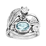 Silpada 'Natural Instincts' 1 7/8 ct Blue & White Cubic Zirconia Ring in Sterling Silver, Size 7