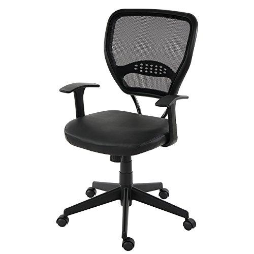 Mendler Profi-Bürostuhl Seattle, Chefsessel Drehstuhl, 150kg belastbar, Kunstleder ~ schwarz mit Armlehnen