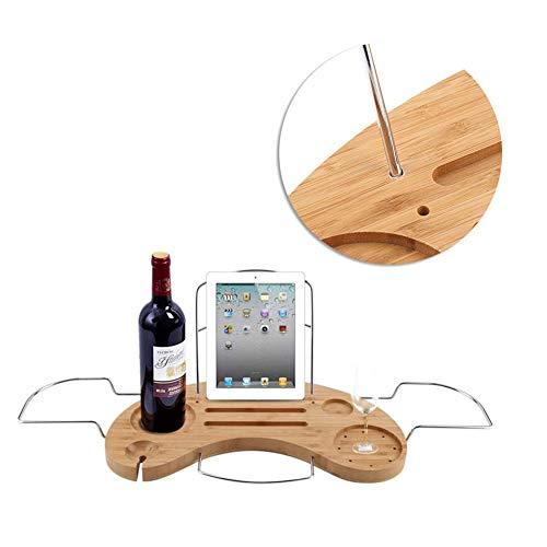 Tgoon Estante de bambú ajustable para bañera, longitud máxima extensible de 27 pulgadas, para soporte de copa de vino, teléfono móvil, tableta, libro etc