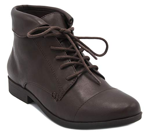 London Fog Crissy Dress Ankle Boot Ladies Lace Up Bootie with Collar Espresso 8